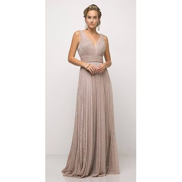 Dusty Rose Ruched V-Neck and Back Pleated Long Formal Dress