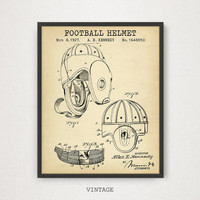 Football Helmet Patent Art, Digital Download, American Football Poster, Helmet Blueprint, Football Room Decor, Gallery Wall, Football Gifts