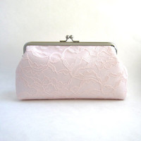 Frame Wedding Clutch - Lace Wedding Purse - Bridesmaid Clutch- Blush Pink