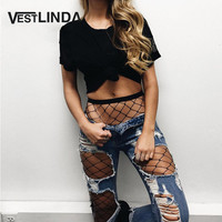 VESTLINDA Sexy Jeans Women Hole Ripped Frayed Women Denim Jeans Black Mesh Fishnet Hollow Out Cool Pants Boyfriend Blue Jeans