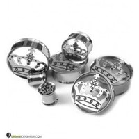 Stainless Steel Crown Logo Tunnel Plugs (2G 1inch) Gauges | UrbanBodyJewelry.com