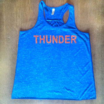 OKC Thunder Tank. Racerback Royal Blue Marble Tank with Orange Glitter Applique. Thunder Up. Thunder Nation. Oklahoma City Shirt