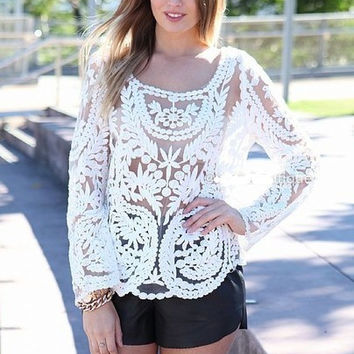 White Floral Loose Crochet Long Sleeve Top