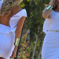 White Scoopback Ruffled Minidress