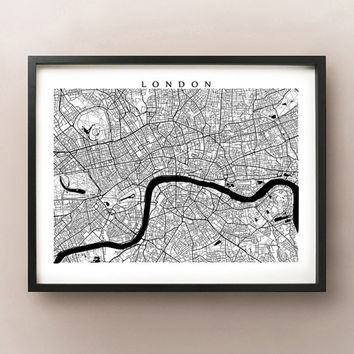 London Map - Black and White Wall Art, England Art Poster