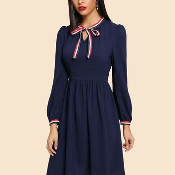 Tie Neck Striped Trim Lantern Sleeve Dress