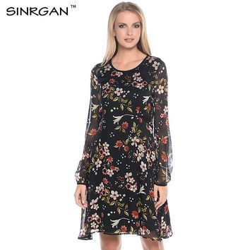 SINRGAN Women Elegant Floral Chiffon Dress See Through Long Sleeve Slim Casual Dresses Female Summer Knee-Length Vestidos