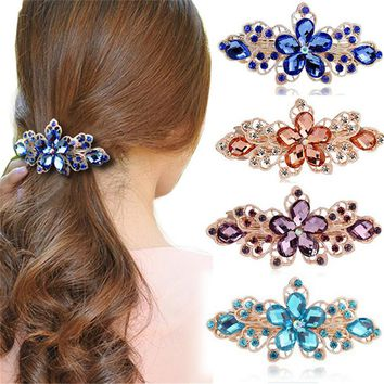 Haimeiakng Rhinestone Flower Crown Hair Clip Headwear Bridal Wedding Hair Accessories Crystal Hairpins for Women Headdress