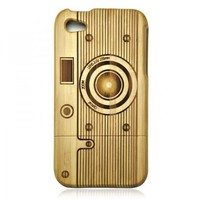 Bamboo Iphone4/4s Case- Hand Carved Camera