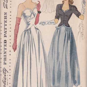 Amazing Vintage Sewing Pattern 1940s dress formal Evening Gown and jacket Simplicity 4212 Size 14 Sweetheart Neckline long dress