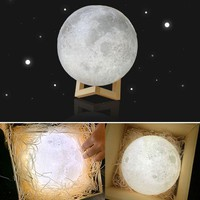 2017 Creative 8-20cm 3D Magical Moon LED Lamp USB Night Light Touch Sensor Moonlight Changeable Color Indoor Decoration Lamp