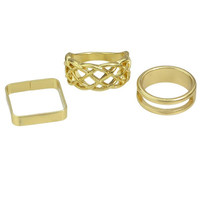 Gold Cut Out Round and Square Rings