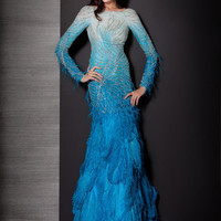 Glamorous Long Sleeved Jovani Couture Pageant Gown 157734