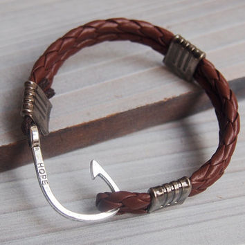 Mens hook bracelet, Braided leather Bracelet, Nautical leather bracelet, mens leather bracelet, hook bracelet men, silver hook bracelet men