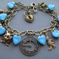 Alice in Wonderland Bracelet - Alice in Wonderland Jewelry - Wonderland Charm Bracelet - Alice Jewelry - Fairytale Jewelry