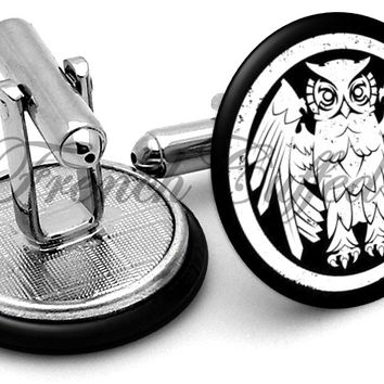 Owl Riverboat Gamblers Cufflinks