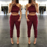 Wine Red Halter Strappy Jumpsuit