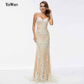 Yewen beaded champagne long evening dresses 2018 party mermaid lace prom formal dress women elegant gown