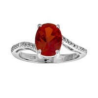 Sterling Silver Lab-Created Ruby & Diamond Accent Oval Ring (Red)