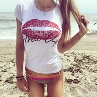 Letter Red Lips Print Short Sleeve Shirt Top Tee