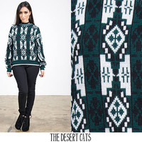 vintage 1980s green and white geometric print knit pull over sweater vintage hipster/grunge fall/winter sweater