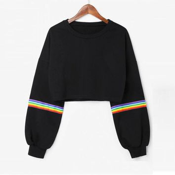 Sweatshirt Womens Long Sleeve Striped Crop Sweatshirt Jumper Black Pullover Top  Muoti villapaita#LSJ