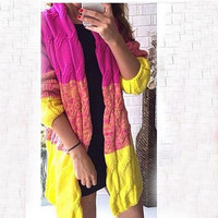 Women's Chunky Long Cardigans Patchwork