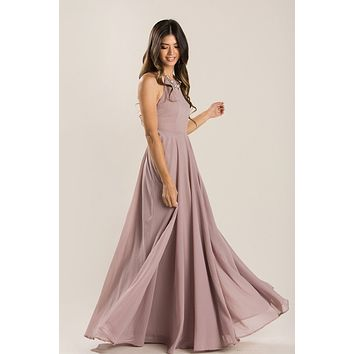 Emma Taupe-Mauve Flowy Maxi Dress
