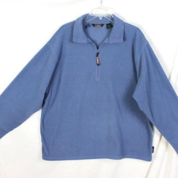 LL Bean XL size Fleece Jacket 1.4 Zip Mens Lightweight Blue All Season Easy Wear