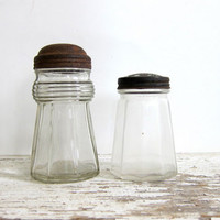Pair of Vintage Glass shaker jars / primitive decor