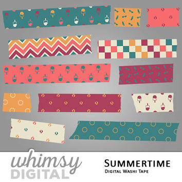 Summer Digital Washi Tape with Suns, Beach Balls, Popsicles, Sunglasses, Flip Flops, Chevron, and Checkers in Orange, Purple, Blue, and Pink
