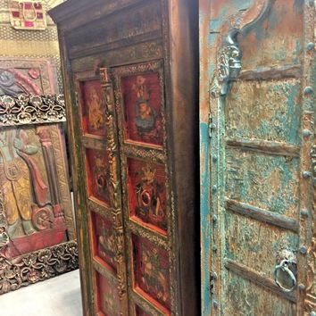 Antique INDIA RED Painted Armoire Maharaja Ganesha Jewel Tones Cabinet CHEST 76