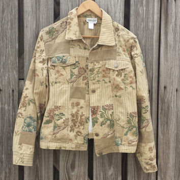 Vintage Coldwater Creek Women's Tan Denim Jacket - Kitschy - Patchwork - SZ M/L