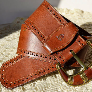 Wide brown leather belt,Size 75/30, width 6 cm-2 1/2 inches