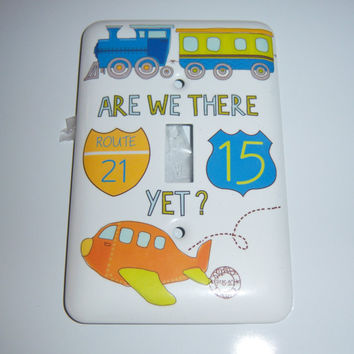 Child's travel themed single light switch cover