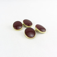 Art Deco 14K Yellow Gold Carnelian Cufflinks Antique Double Sided Red Chalcedony Mens Accessory Fine Jewelry Signed Sansbury & Nellis