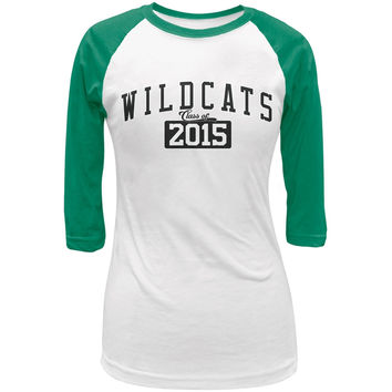 Graduation - WildCats Class of 2015 White/Kelly Green Juniors 3/4 Raglan T-Shirt
