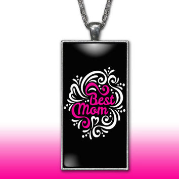 Mom Pendant Charm Necklace Best Mom Pink Mothers Day Gift Custom Charm Necklace, Silver Plated Jewelry