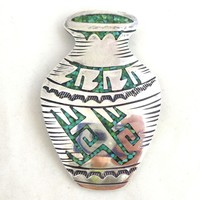 Vintage Sterling Silver Turquoise Pottery Vase Pin Pendant