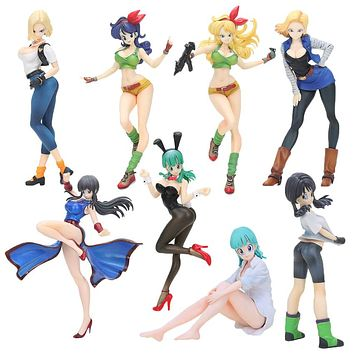 18cm - 20cm Dragon Ball Gals NO. 18 Lazuli Girls Bulma lunchi Lunch chichi videl PVC action figure Collection Model Toy