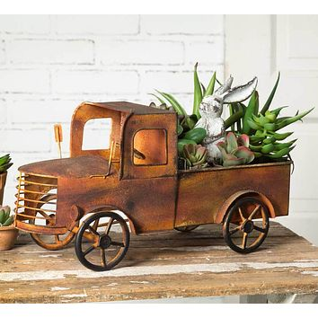 Rustic Antique Country Style Charleston Pick-up Truck Flower Planter Display