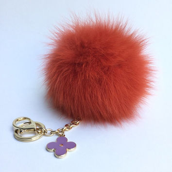 Rusty Orange Fur Pompon bag charm pendant Fur Pom Pom keychain with flower charm