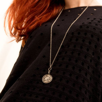 Goddess Athena Pendant-Sterling Silver Athena Coin Pendant -Ancient Greek Replica Coin Necklace- Oxidised Long Vintage Necklace