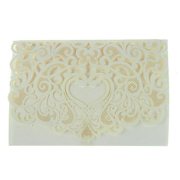Paper Rectangular Laser-Cut Pearlescent Scroll Swirl Invitations with Heart, Ivory, 7-1/4-Inch, 8 count