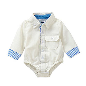 Beetle & Thread 3-12 Months Oxford Bodysuit - White