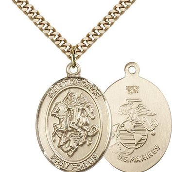 14K Gold Filled St George Marines Military Soldier Catholic Medal Necklace 617759069952