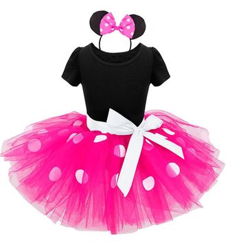 Kids dress Minnie Mouse princess party clothing Headband Set Polka dot baby clothes birthday girls tutu / 2 color options