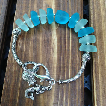 Multi Colored  Sea Glass Bracelet Bold  Chunky Jewelry with charms,Mermaid Bracelet  handmade by Lyrisgems