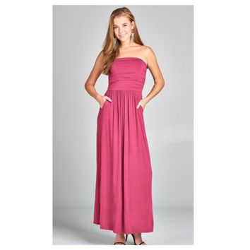 Adorable Strapless Buttery Soft Vibrant Pink Maxi Dress