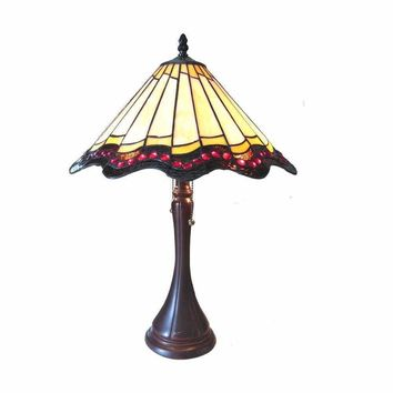 "Adriana, Tiffany-Style 2 Light Baroque Table Lamp 16"" Shade"